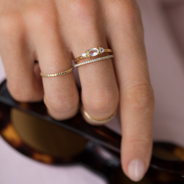 rose quartz gold ring stack