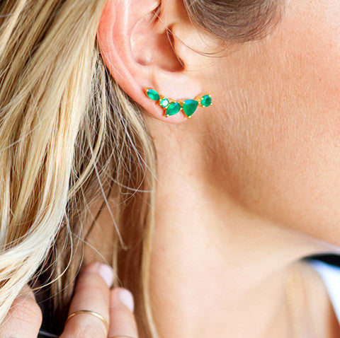 Wing Ear Climbers | Green Onyx