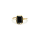 Leah Alexandra gold black onyx emerald cut ring