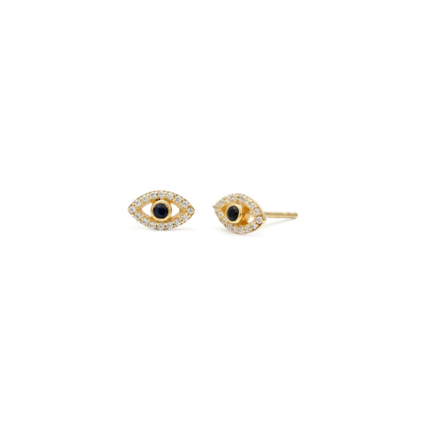 Sapphire and CZ Gold Evil Eye Studs