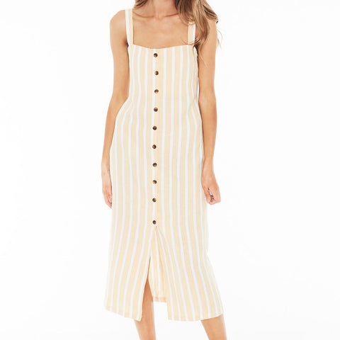 Faithfull the Brand - Rouges Midi Dress - Mazur Stripe Lemon