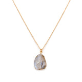 freeform necklace, labradorite, gold, necklace on white background
