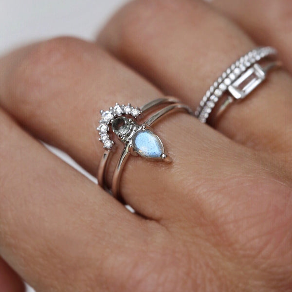 sterling silver Diamond halo stacking ring