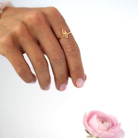 Leah Alexandra pink chalcedony and rose quartz fling ring