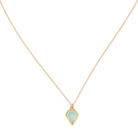 Gem Aqua Chalcedony Necklace, gold, jewelry on white background