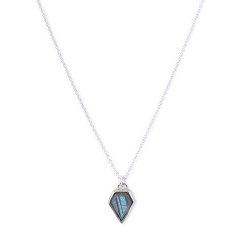 Gem Labradorite Silver Necklace, jewelry on white background
