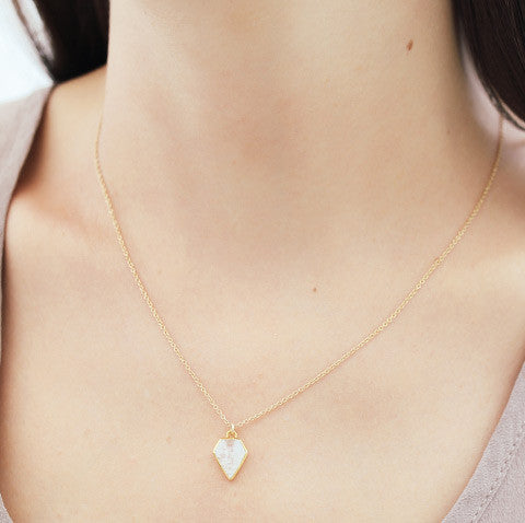 Gem Moonstone Necklace, gold, brown hair