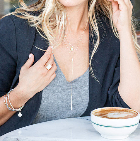 GRACE PEARL LARIAT NECKLACE, grey top, blonde hair, blazer, coffee