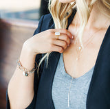 GRACE PEARL LARIAT NECKLACE, grey top, blonde hair, blazer