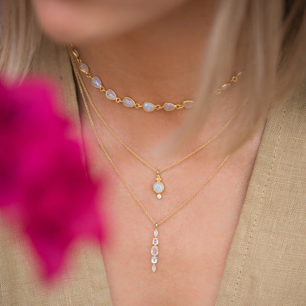gold moonstone necklace layers
