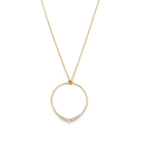 Leah Alexandra Jewelry, Halo circle necklace, gold necklace on white background, CZ