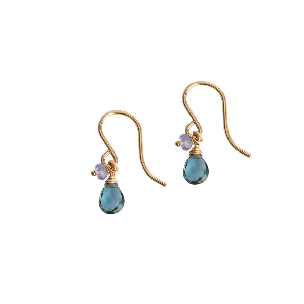 Blue topaz tanzanite hook earrings