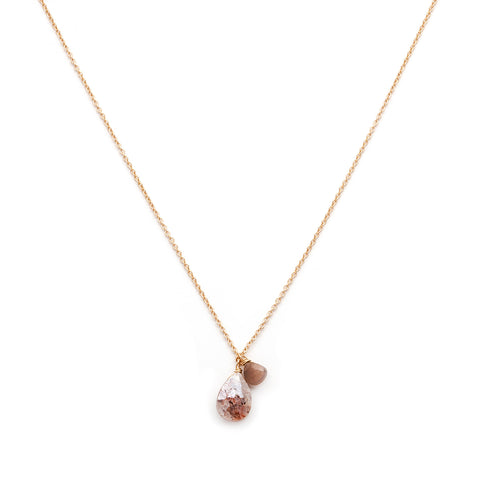 Isabel Blush Moonstone Necklace, Chocolate Moonstone, tear drop necklace, necklace white background