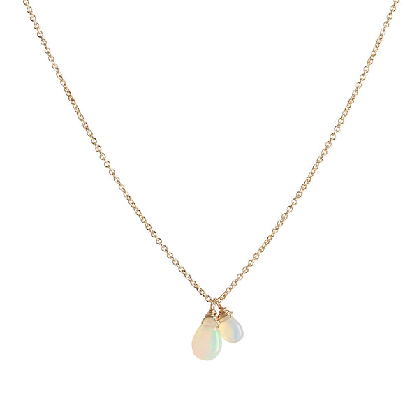 isabel necklace, opal, gold, jewelry on white background
