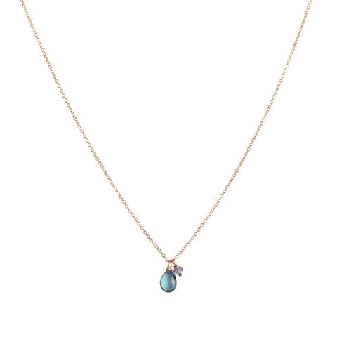 Isabel Necklace, London Blue Topaz, Tanzanite, Gold, Jewelry on white background