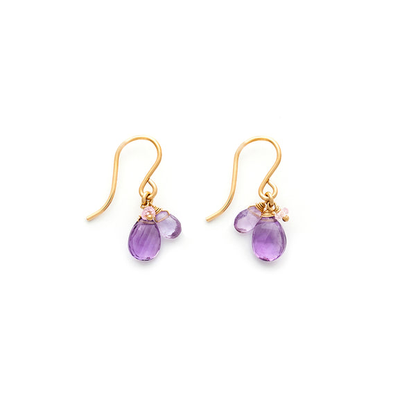 amethyst isabel gold filled french hook earrings