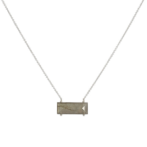 Kinsey Necklace, Labradorite, gold, emerald cut, jewelry on white background