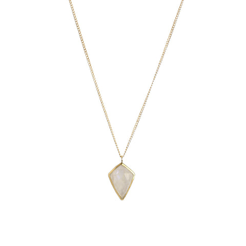 Kite Necklace, Moonstone, Gold, Jewelry on white background