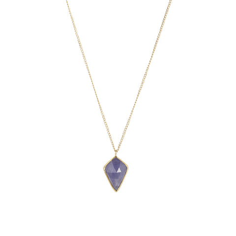 Kite Tanzanite Necklace, Gold, Long Necklace, Jewelry on white background