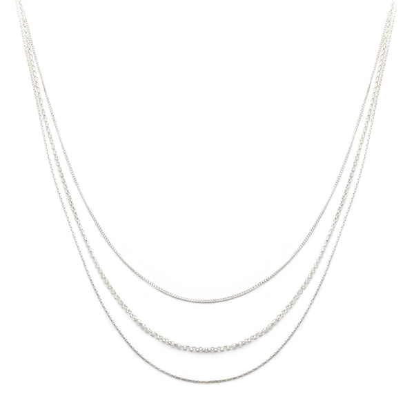 Layercake Necklace, Silver, Jewelry on white background, layered necklace