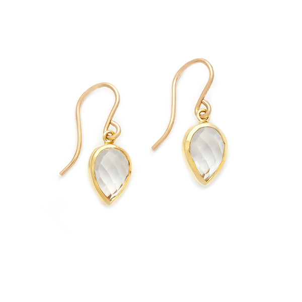 Lotus Earrings | White Topaz