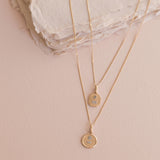 Love Token Necklace Round | 14k Gold & Diamond