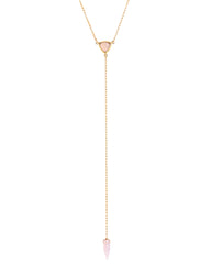 Lariat Necklace Pink Chalcedony