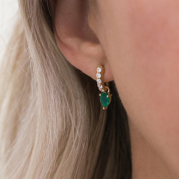 Leah Alexandra gold huggie hoops demi gem hoops green onyx