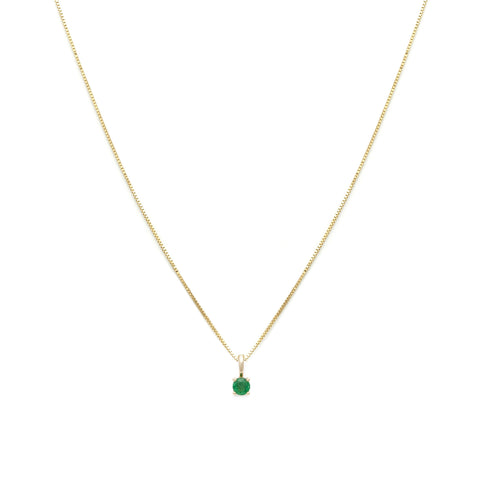 Leah Alexandra Emerald 14k gold birthstone element necklace