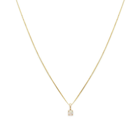 Leah Alexandra opal october birth stone 14k gold necklace