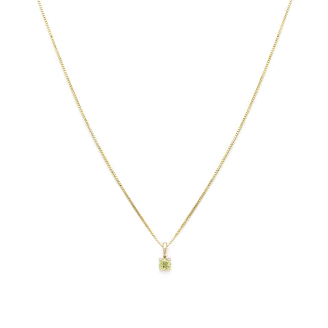 Leah Alexandra peridot august birth stone 14k gold necklace