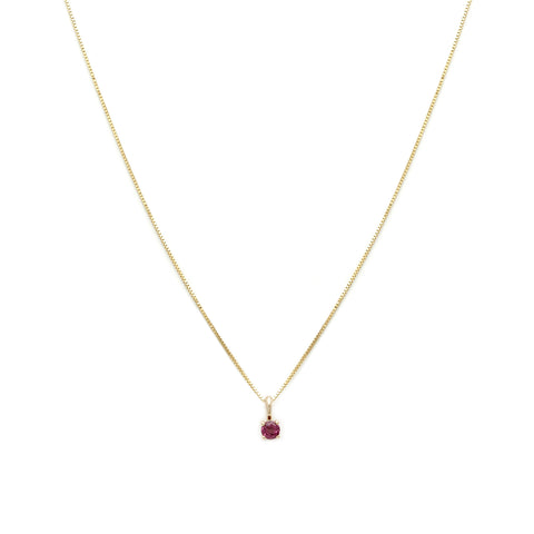 Leah Alexandra 14k gold ruby birthstone element necklace