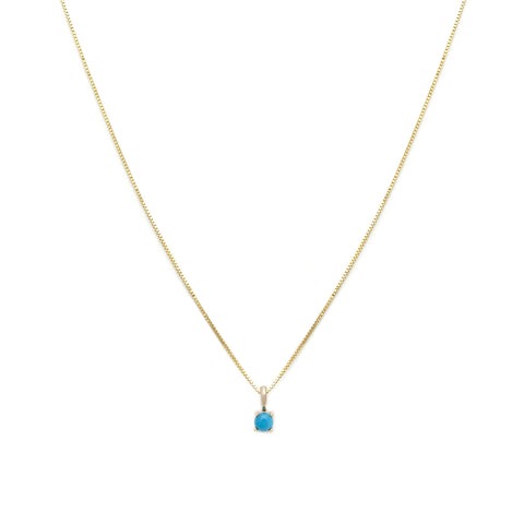 Leah Alexandra turquoise december birth stone 14k gold necklace