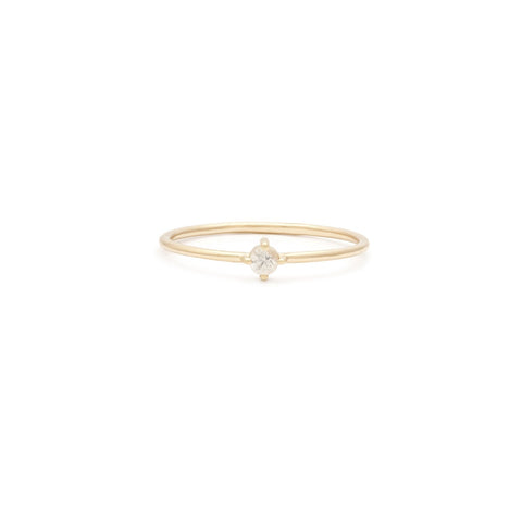 Leah Alexandra white sapphire april birthstone stacking ring 14k gold