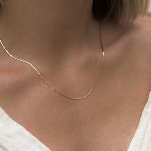 Herringbone Chain Necklace | Gold