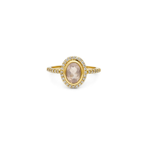 Leah Alexandra antique inspired rose quartz gold cameo ring