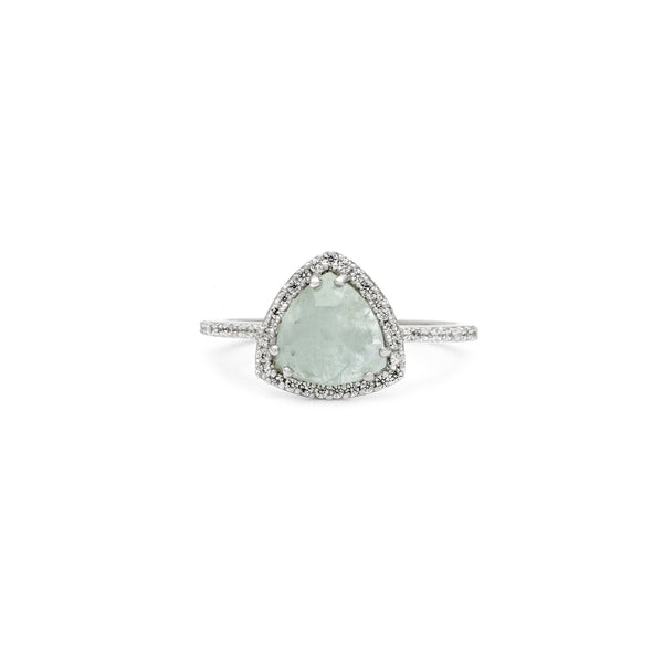 Leah Alexandra aquamarine sterling silver trillion cut gemstone trielle ring