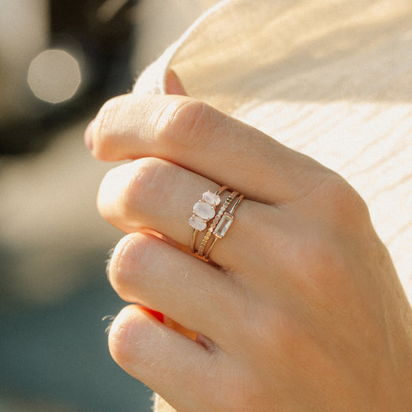 rosegold stacking rings moonstone white topaz