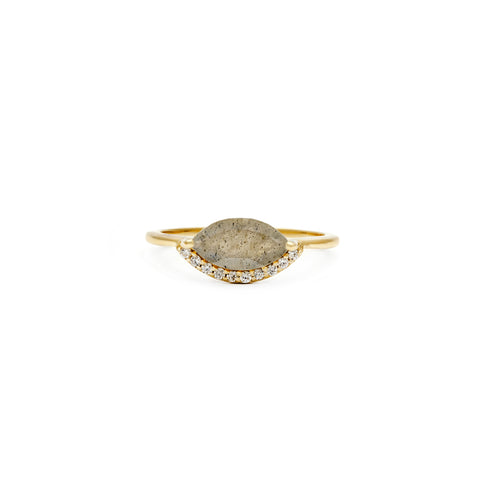 Leah Alexandra marquis shaped labradorite gold ring