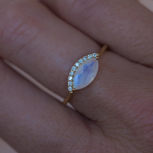 Leah Alexandra marquis shaped moonstone gold ring