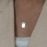 Leah alexandra sterling silver note necklace ID tag