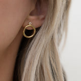 LEAH ALEXANDRA FRONT FACING HOOPS WITH MOONSTONE SOL HOOPS