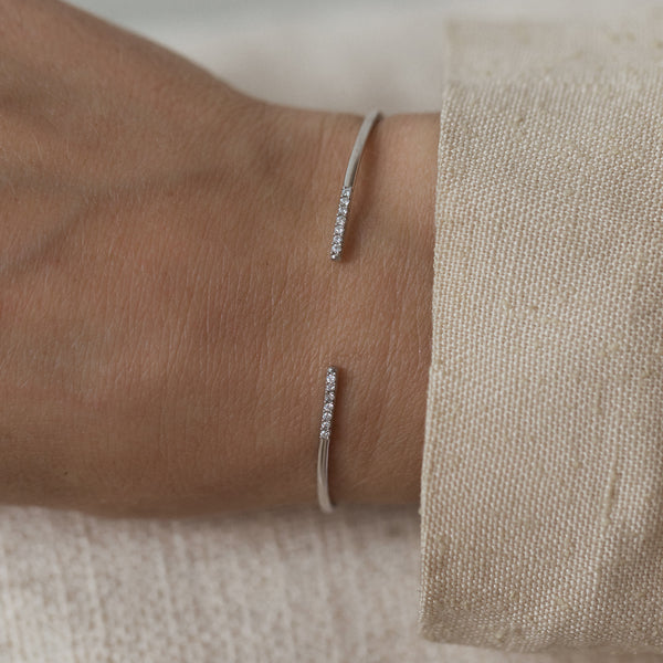 leah alexandra silver pave cuff