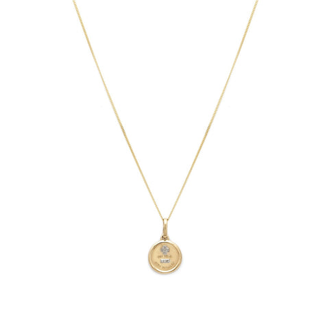 Leah Alexandra 14k gold love token pendant with diamonds