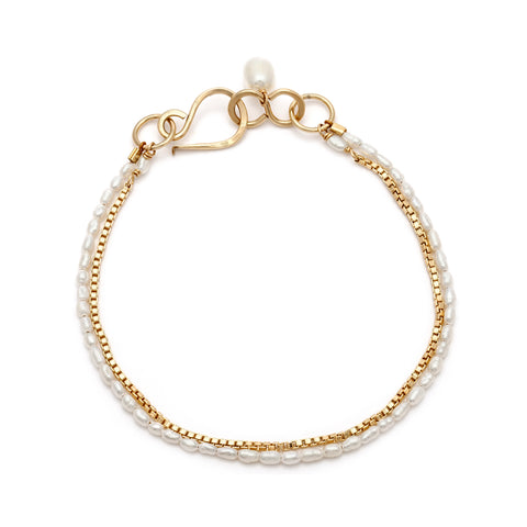Delicate Pearl and Gold Liberty Bracelet