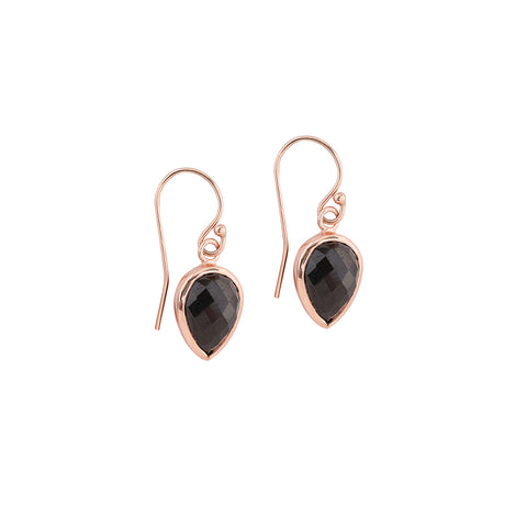 Lotus Earrings | Black Garnet
