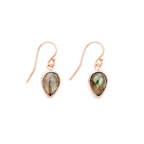 Leah Alexandra rosegold labradorite lotus earrings