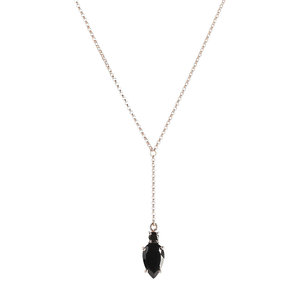 Black Garnet and Rosegold Malin Necklace Leah Alexandra