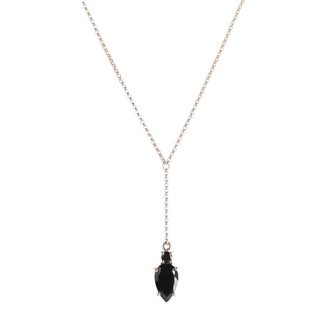 Maline Necklace, Black Onyx, Rosegold, jewelry on white background