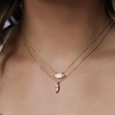 fling necklace, pink chalcedony, gold, neckalce on chest